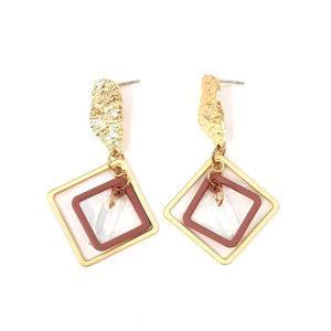 gold dusty pink earrings