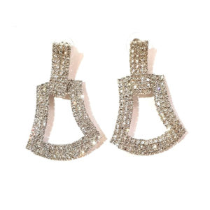 silver statement evening earrings