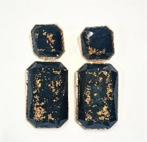black with gold dust earrings