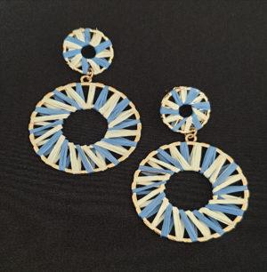 blue white earrings raffia