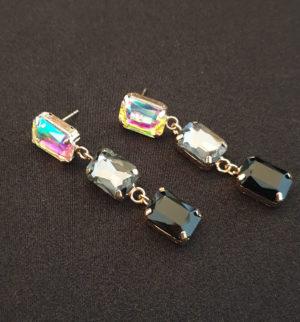 black diamante earrings
