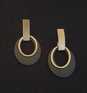 black gold oval earrings